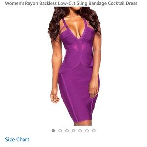 Purple open back Bandage dress